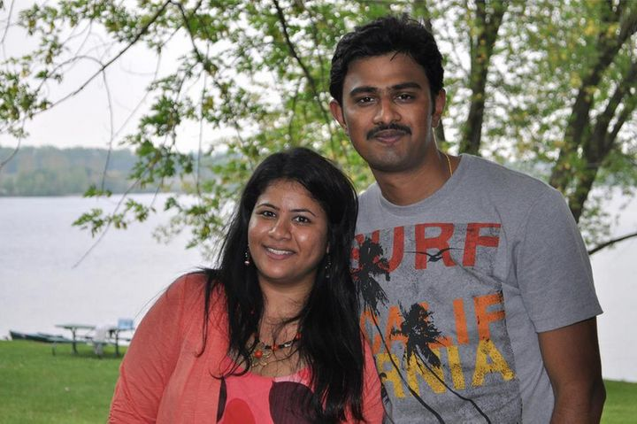 Sunayana Dumala pictured with her husband, Srinivas Kuchibhotla. Kuchibhotla, 32, was fatally shot in what is now b