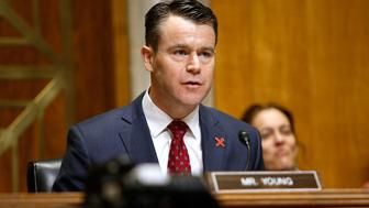WASHINGTON, DC - FEBRUARY 15:  Sen. Todd Young (R-IN) speaks during a Senate Foreign Relations Committee hearing on Ending Modern Slavery: Building on Success at Dirksen Senate Office Building on February 15, 2017 in Washington, DC.  (Photo by Paul Morigi/WireImage)