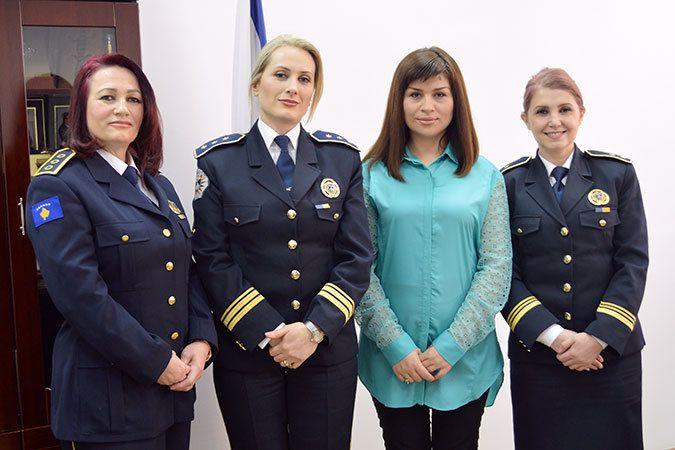 Captain Tahire Haxholli, Colonel Taibe Canolli, AWKP advisor Teuta Bajgora Jasiqi and Colonel Aferdita Mikullovci at the Kos