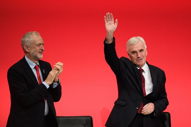 Jeremy Corbyn congratulates John McDonnell after his 2016 conference