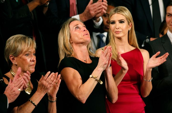 """Carryn Owens, widow of William """"Ryan"""" Owens, reacts after being mentioned by President Donald Trump as hedelivers his f"""