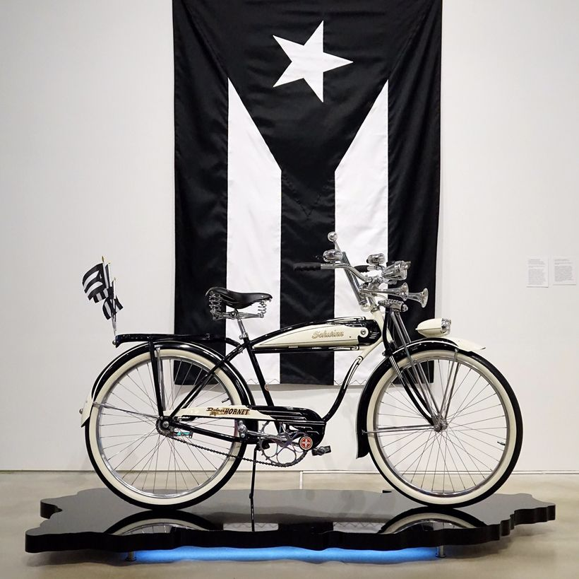 <em>51' </em>[the promises are over], 2017 and  <em>Puerto Rican Flag in Black and White</em>, 2017