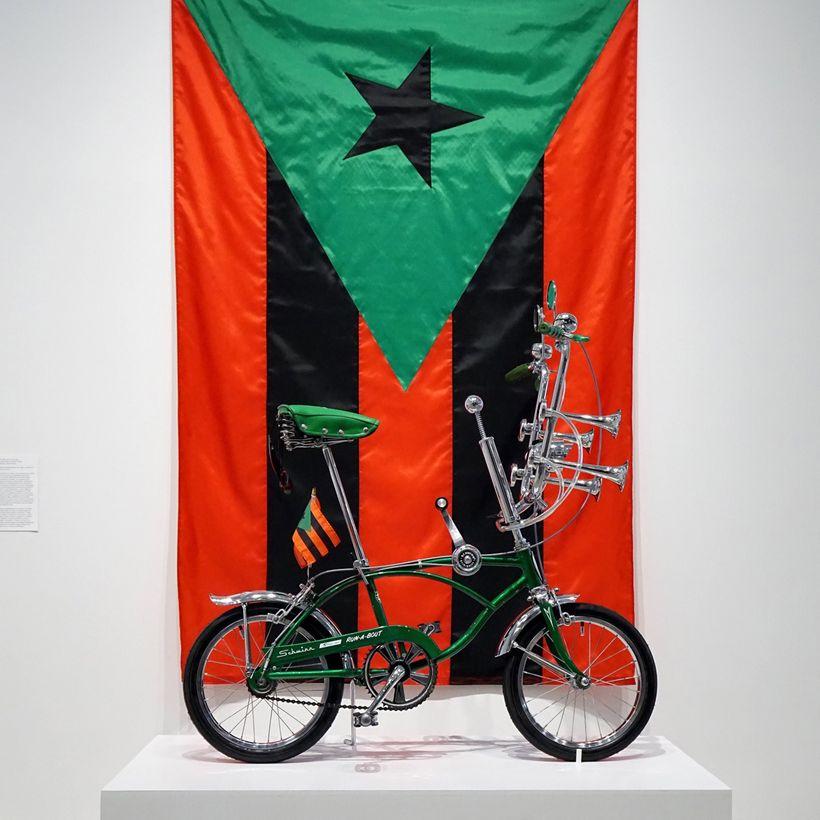 <em>Run-a-Bout</em>, 2017  and <em>Bandera puertorriqueña en rojo, negro, y verde,</em> 2017