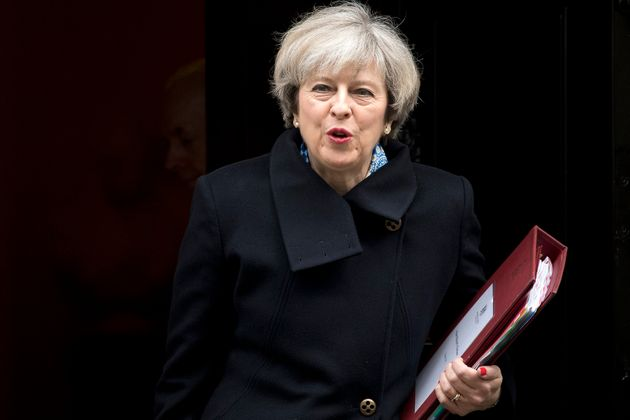 Theresa May leaves 10 Downing Street ahead of the vote in the Lords on Wednesday