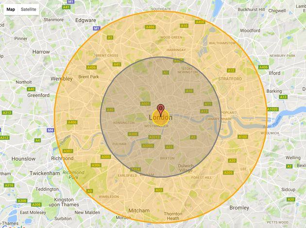 Inner circle: Fireball radiusMiddle circle: Air blast radiusOuter circle: Thermal radiation and third...