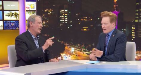 Former Mexican President Vicente Fox, left, appeared on Conan O'Brien's one-off Mexican edition of his late-night show.