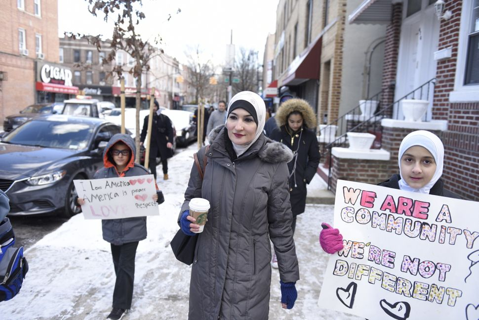 Linda Sarsour, executive director of the Arab American Association of New York, marches in Brooklyn in support of the local&n