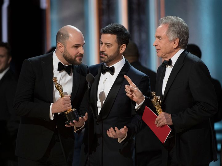 """La La Land"" producer Jordan Horowitz, Jimmy Kimmel and Warren Beatty."