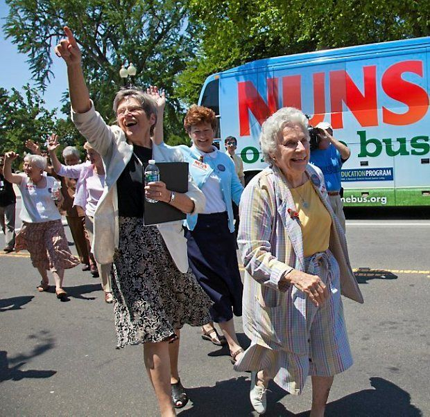 Sister Diane Donoghue (front) with Nuns on the Bus