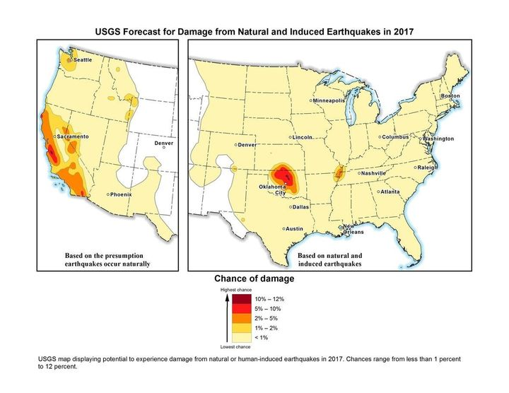 A U.S. Geological survey map showing parts of the United States most at risk for earthquakes.
