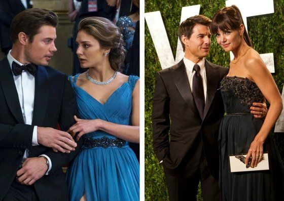 "Josh Henderson and Christine Evangelista in ""The Arrangement"" and Tom Cruise and Katie Holmes at the Vanity Fair Oscars"