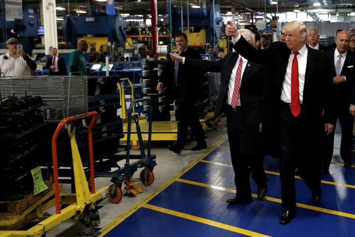 Donald Trump and Mike Pence tour a Carrier factory in Indianapolis on Dec. 1, 2016, less than a month after Trump's president