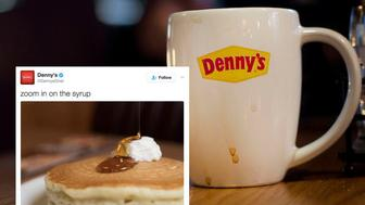A used coffee cup sits on a table as patrons eat at the first location of the Denny's restaurant chain to open in New York City in New York, NY, Saturday, September 6, 2014. Photograph: Victor J. Blue