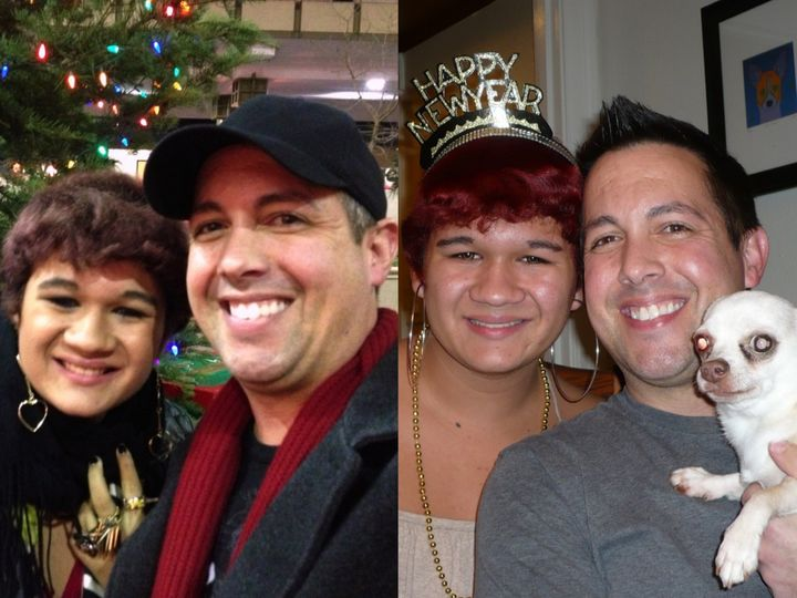 """Erika and Scott's first photo taken together, 2012; celebrating New Year's, 2013. """""""