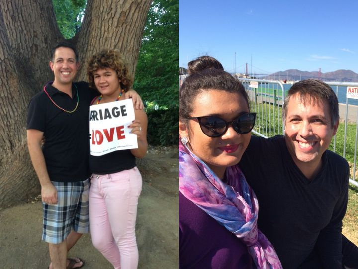 Scott and Erica at the Marriage Equality Rally in Sacramento, 2013; together at the Marina District in San Francisco, 2014