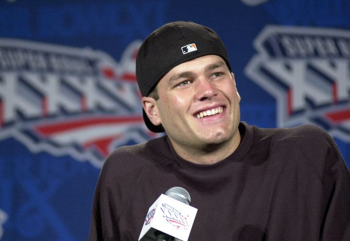 Tom Brady was all smiles at a press conference on Thursday after being named starting quarterback for the Patriots on Jan. 31, 2001.