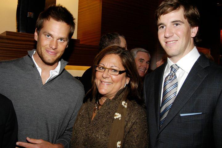Tom Brady, Fern Mallis and Eli Manning on March 11, 2008 in New York City.