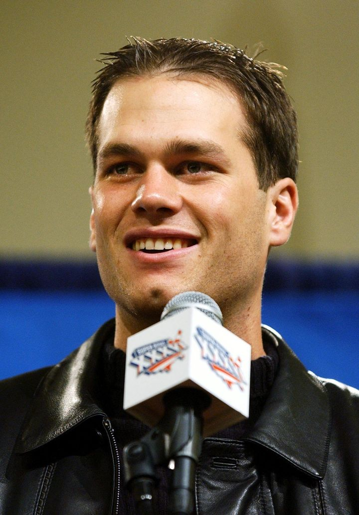 Tom Brady speaks at press conference 04 February, 2002, in New Orleans, La., where he was presented with the Most Valuable Player award for Super Bowl XXVI.