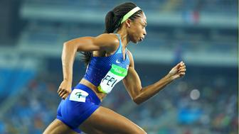 2016 Rio Olympics - Athletics - Final - Women's 400m Final - Olympic Stadium - Rio de Janeiro, Brazil - 15/08/2016.Allyson Felix (USA) of USA competes. REUTERS/Lucy Nicholson  FOR EDITORIAL USE ONLY. NOT FOR SALE FOR MARKETING OR ADVERTISING CAMPAIGNS.