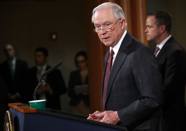 Attorney General Jeff Sessions speaks during a press conference at the Department of