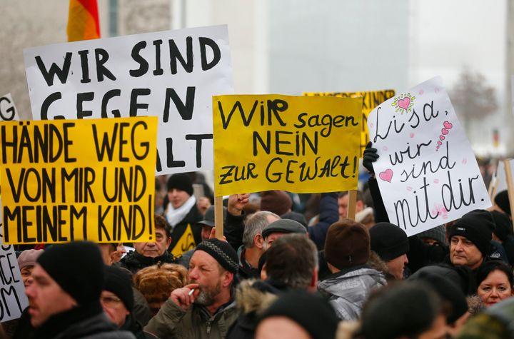 Members ofthe International Convention of German Russians in Berlin, Germany, demonstrate on Jan. 23, 2016, in the wake