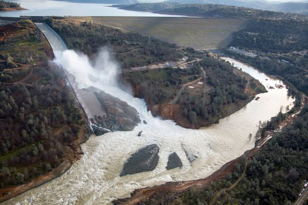 An aerial view of the damaged Oroville Dam