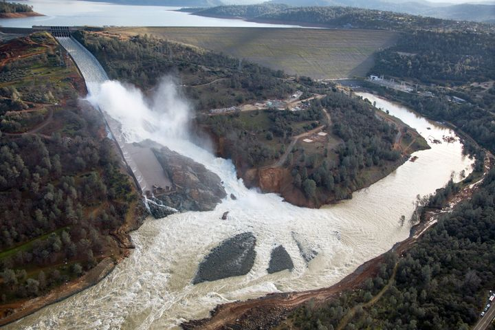 An aerial view of the damaged Oroville Dam spillway.