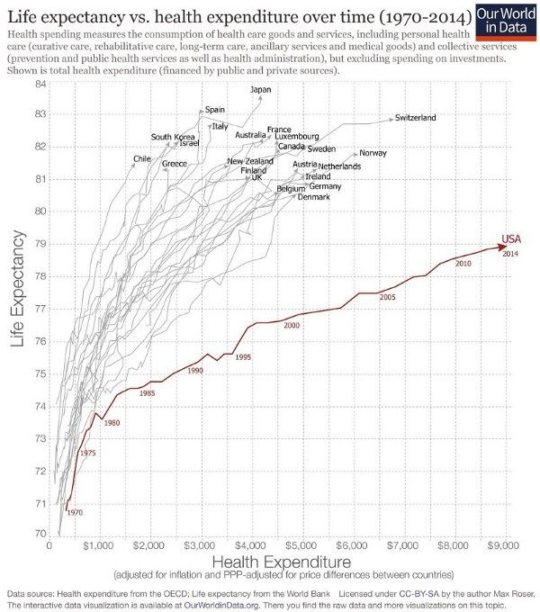 """Source: <a rel=""""nofollow"""" href=""""http://www.visualcapitalist.com/u-s-healthcare-system-global-outlier-not-good-way/"""" target=""""_"""