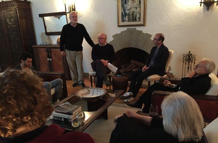 Yuval Harari (R) discussing <i>Homo Deus with</i>&nbsp;Berggruen Institute President Craig Calhoun (L) and WorldPost editor N
