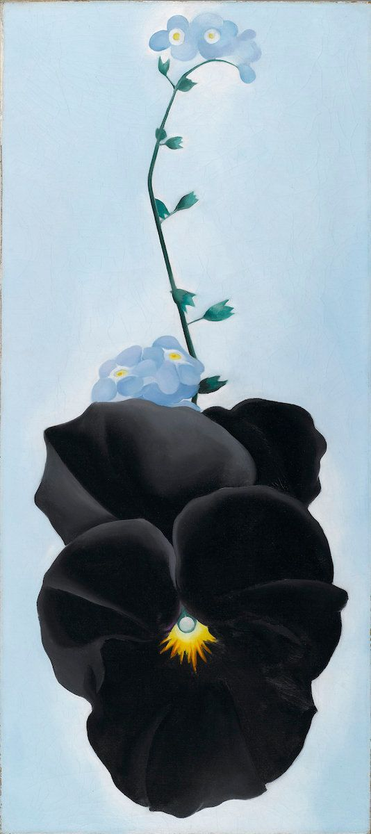 "Georgia O'Keeffe, ""Black Pansy & Forget-Me-Nots (Pansy),"" 1926, oil on canvas, 27⅛ by 12¼ inches (68.9 by 31"