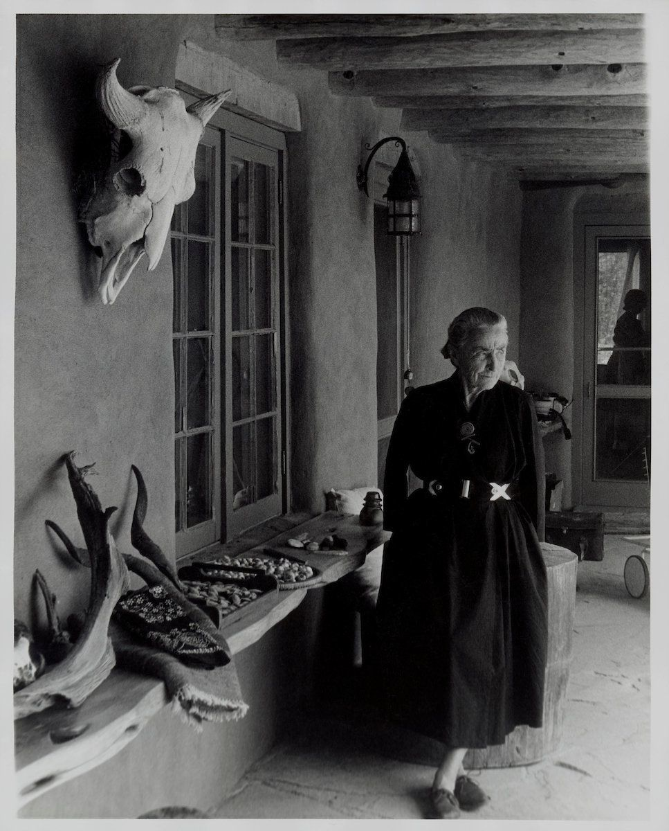 Todd Webb, portrait of Georgia O'Keeffe on Ghost Ranch Portal, New Mexico, circa 1960s, gelatin silver print, 10 by 8 i