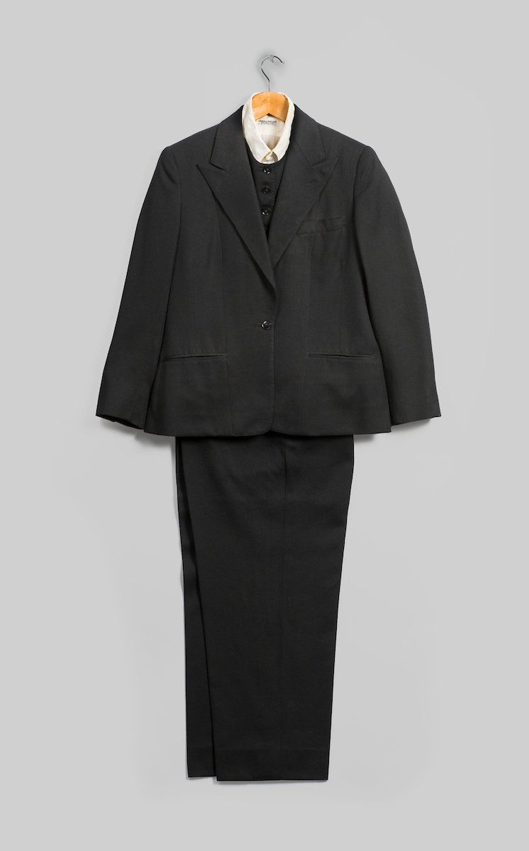 Emsley suit (jacket, pants, and vest), 1983, black wool, inner garment: Lord & Taylor, shirt, circa 1960s, white cotton.&