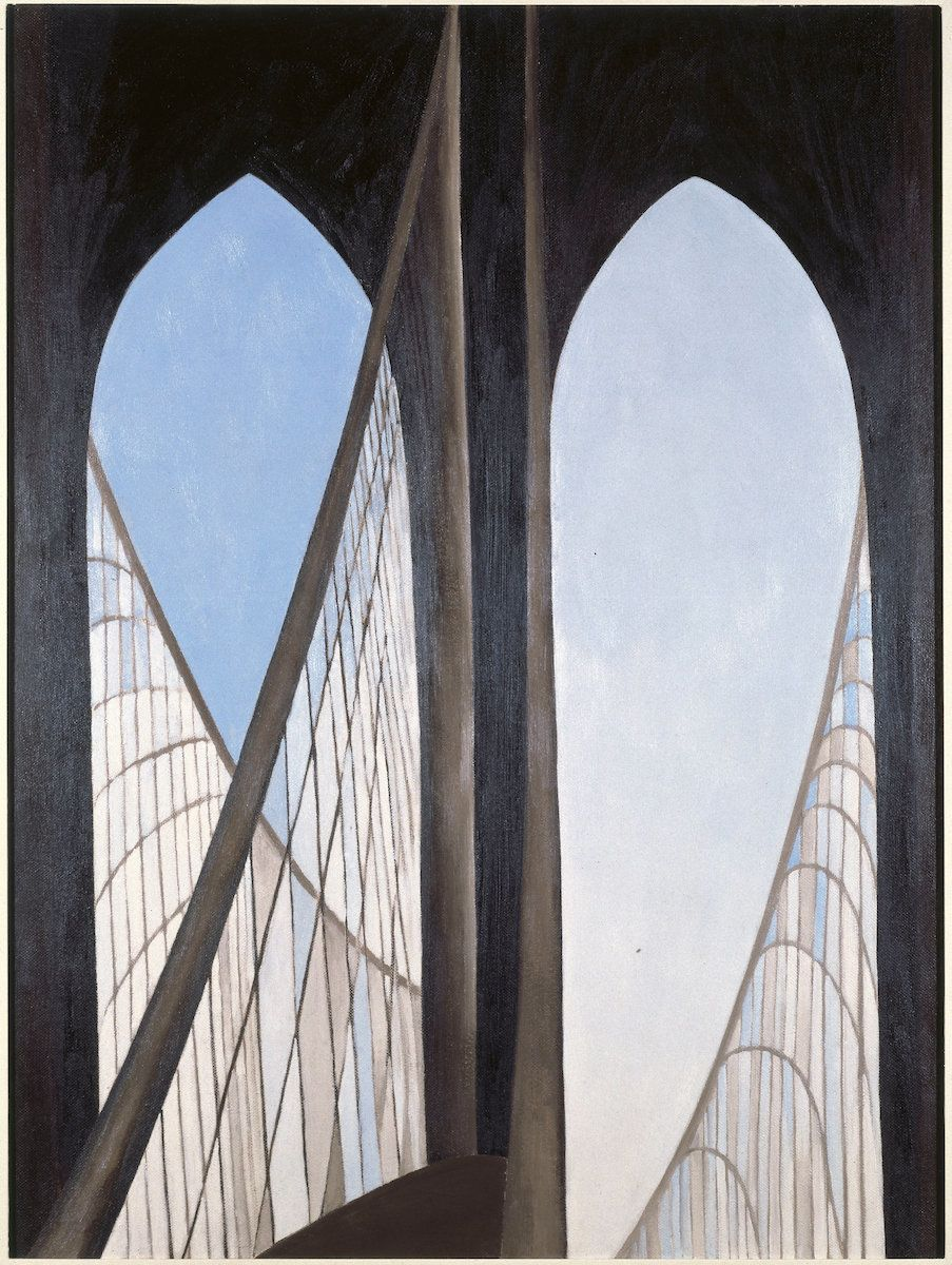 "Georgia O'Keeffe, ""Brooklyn Bridge,"" 1949, oil on Masonite, 48 by 35⅞ inches (121.8 by 91.1 centimeters)."