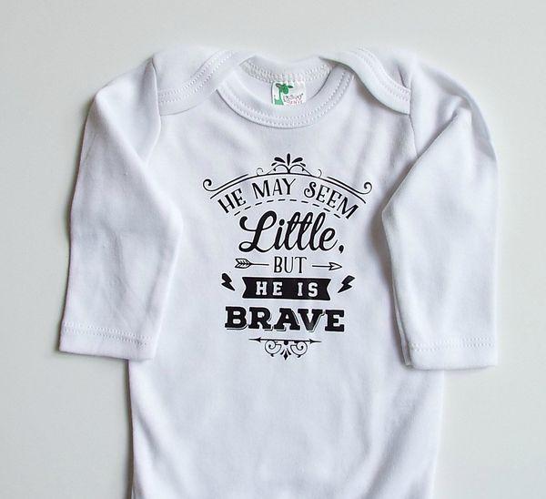 """$16.95, <a href=""""https://www.etsy.com/listing/466954754/preemie-bodysuit-little-but-brave"""" target=""""_blank"""">Bellesandrascals</"""
