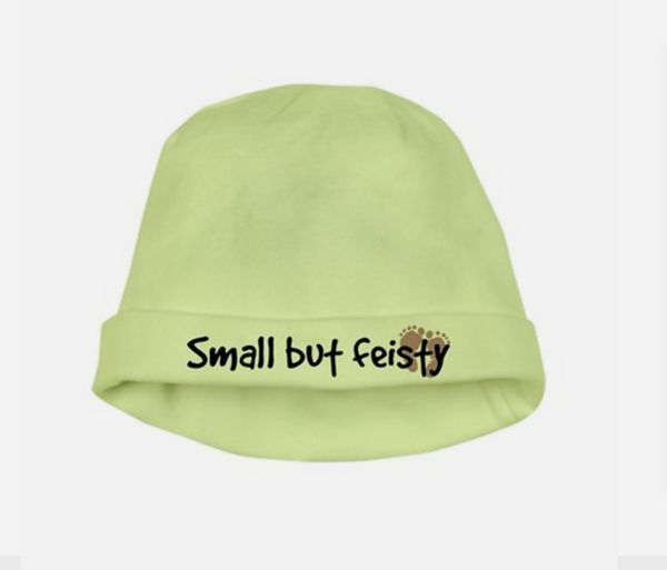 """$9.99, <a href=""""http://www.cafepress.com/+small_but_feisty_baby_hat,508107735"""" target=""""_blank"""">DesignMama</a>"""