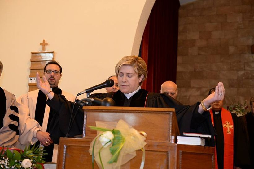 Reverend Sleiman gives her first blessing as an ordained pastor on Feb. 26, 2017.