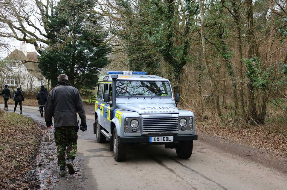 Police attend the hunt to try and keep the peace between the sabs and