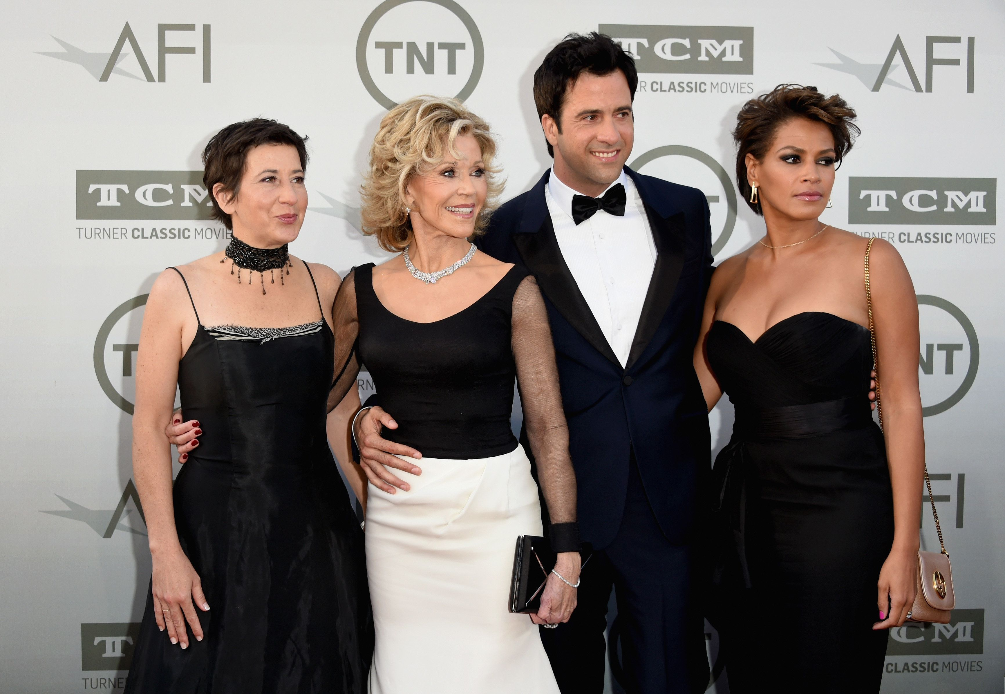 Fonda poses with her daughter Vanessa, son Troy and daughter-in-law Simone in 2014.