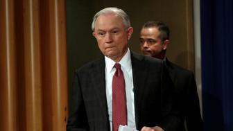 U.S. Attorney General Jeff Sessions arrives at a news conference at the Justice Department in Washington, U.S., March 2, 2017. REUTERS/Yuri Gripas