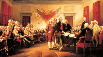 UNITED STATES - CIRCA 2002:  The Founding Fathers presenting their draft of the Declaration of Independence to Congress, June 28, 1776, by John Trumbull (1756-1843), 1819. Declaration of Independence of the United States of America, the United States, 18th century. (Photo by DeAgostini/Getty Images)