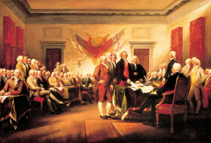 The Founding Fathers presenting their draft of the Declaration of Independence to Congress, June 28, 1776, by John Trumbull.&