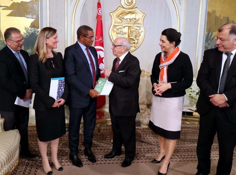 President Essebsi with former President Kikwete of Tanzani, Amel Kaboul, Caroline Kende Robb and Minister of Education  H.E.