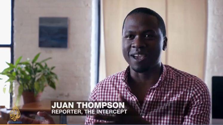 Former Intercept reporter Juan Thompson appearing on Al Jazeera English