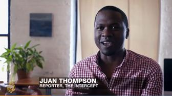 Former Intercept reporter Juan Thompson appearing on Al Jazeera English