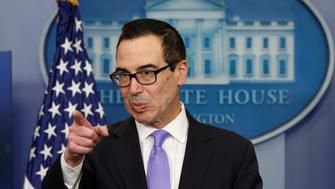 U.S.Treasury Secretary Steven Mnuchin speaks at a press briefing at the White House in Washington, U.S., February 14, 2017.  REUTERS/Kevin Lamarque