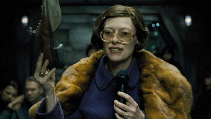 "Swinton as an elderly official of sorts in ""Snowpiercer."""