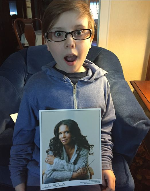 Brendan received a signed photograph of Audra McDonald from her assistant.