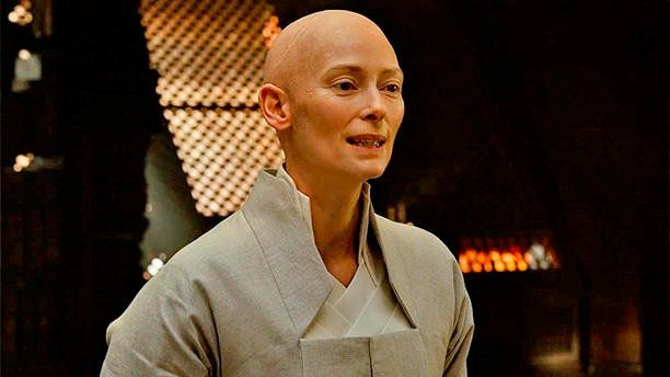 "Swinton as a  Tibetian mystic in ""Doctor Strange."""