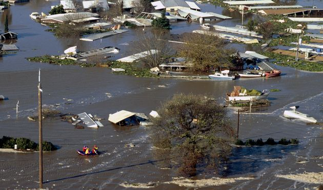 Floodwaters overtook The Islander Trailer Park near the San Joaquin River in Manteca, California in January...