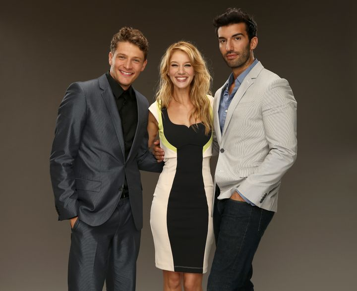 CW's 'Jane the Virgin' actors Brett Dier, Yael Grobglas and Justin Baldoni pose for a portrait during the CW and Showtime's 2